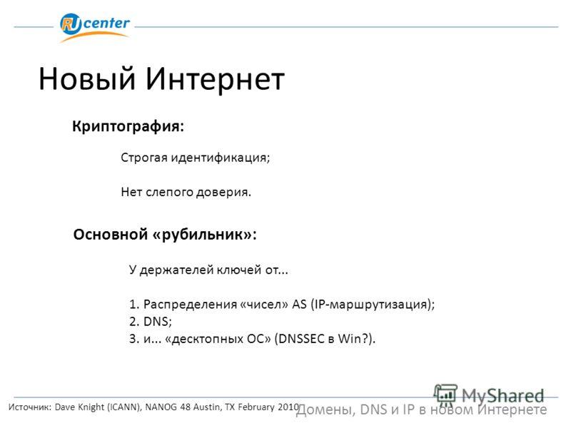 Домены, DNS и IP в новом Интернете Новый Интернет Источник: Dave Knight (ICANN), NANOG 48 Austin, TX February 2010 Криптография: Строгая идентификация; Нет слепого доверия. Основной «рубильник»: У держателей ключей от... 1. Распределения «чисел» AS (