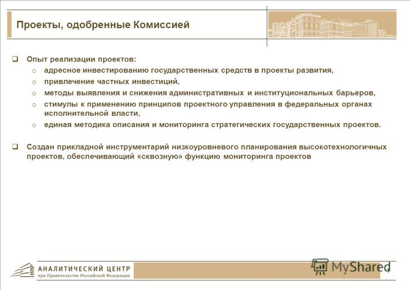 Основные итоги реализации проектов, одобренных Комиссией при Президенте Российской Федерации по модернизации и технологическому развитию экономики России По состоянию на 31.12.2012