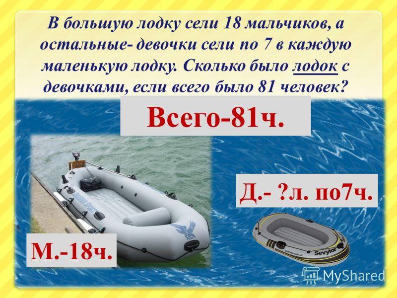В большую лодку сели 18 мальчиков, а остальные - девочки сели по 7 в каждую маленькую лодку. Сколько было лодок с девочками, если всего было 81 человек ? 16 М.-18 ч. Д.- ? л. по 7 ч. Всего -81 ч.