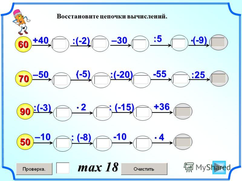 Восстановите цепочки вычислений. 604:5 (-9) +40 70 :(-2) :(-20) :(-3) 90 : (-15) 250 : (-8) -10 (-5) -55 +36 –10 –50 :25 –30 max 18