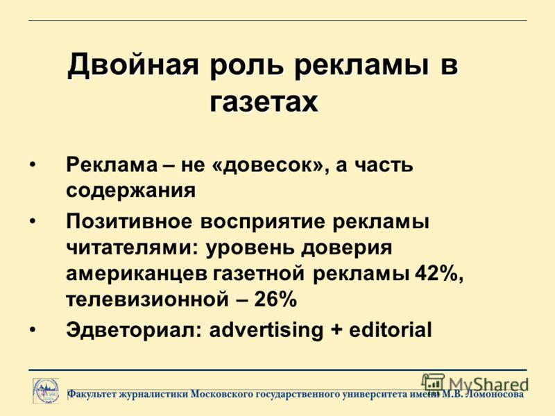 Двойная роль рекламы в газетах Реклама – не «довесок», а часть содержания Позитивное восприятие рекламы читателями: уровень доверия американцев газетной рекламы 42%, телевизионной – 26% Эдветориал: advertising + editorial