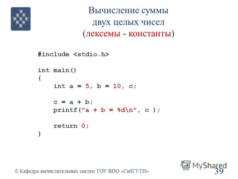Вычисление суммы двух целых чисел (лексемы - константы) 39 © Кафедра вычислительных систем ГОУ ВПО «СибГУТИ» #include int main() { int a = 5, b = 10, с; с = a + b; printf(a + b = %d\n, c ); return 0; }