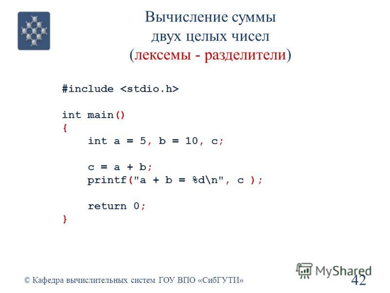 Вычисление суммы двух целых чисел (лексемы - разделители) 42 © Кафедра вычислительных систем ГОУ ВПО «СибГУТИ» #include int main() { int a = 5, b = 10, с; с = a + b; printf(a + b = %d\n, c ); return 0; }