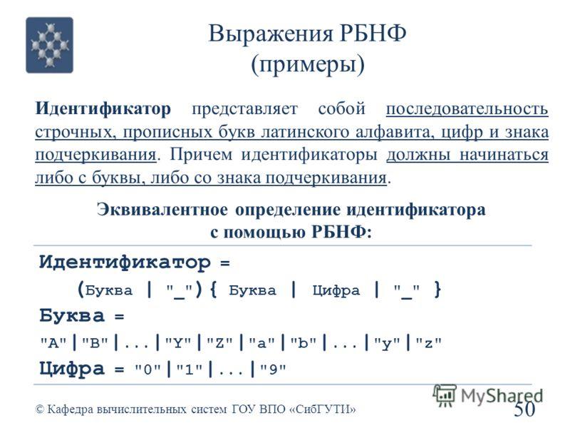 Выражения РБНФ (примеры) 50 © Кафедра вычислительных систем ГОУ ВПО «СибГУТИ» Идентификатор = ( Буква |