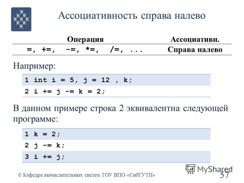 Ассоциативность справа налево 57 © Кафедра вычислительных систем ГОУ ВПО «СибГУТИ» ОперацияАссоциативн. =, +=, -=, *=, /=,... Справа налево Например: 1int i = 5, j = 12, k; 2i += j -= k = 2; В данном примере строка 2 эквивалентна следующей программе:
