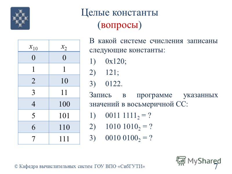 Целые константы (вопросы) 7 © Кафедра вычислительных систем ГОУ ВПО «СибГУТИ» x 10 x2x2 00 11 210 311 4100 5101 6110 7111 В какой системе счисления записаны следующие константы: 1)0х120; 2)121; 3)0122. Запись в программе указанных значений в восьмери
