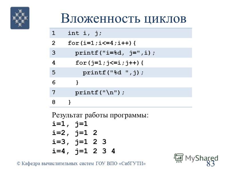 Вложенность циклов 83 © Кафедра вычислительных систем ГОУ ВПО «СибГУТИ» 1int i, j; 2for(i=1;i