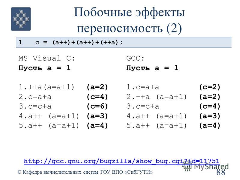 Побочные эффекты переносимость (2) 88 © Кафедра вычислительных систем ГОУ ВПО «СибГУТИ» 1c = (a++)+(a++)+(++a); http://gcc.gnu.org/bugzilla/show_bug.cgi?id=11751 MS Visual C: Пусть a = 1 1.++a(a=a+1) (a=2) 2.c=a+a (c=4) 3.c=с+a (c=6) 4.a++ (a=a+1) (a