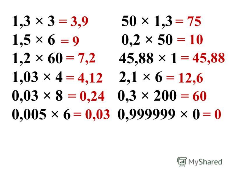 1,3 × 3 50 × 1,3 1,5 × 6 0,2 × 50 1,2 × 60 45,88 × 1 1,03 × 4 2,1 × 6 0,03 × 8 0,3 × 200 0,005 × 6 0,999999 × 0 = 3,9 = 9 = 7,2 = 4,12 = 0,24 = 0,03 = 75 = 10 = 45,88 = 12,6 = 60 = 0