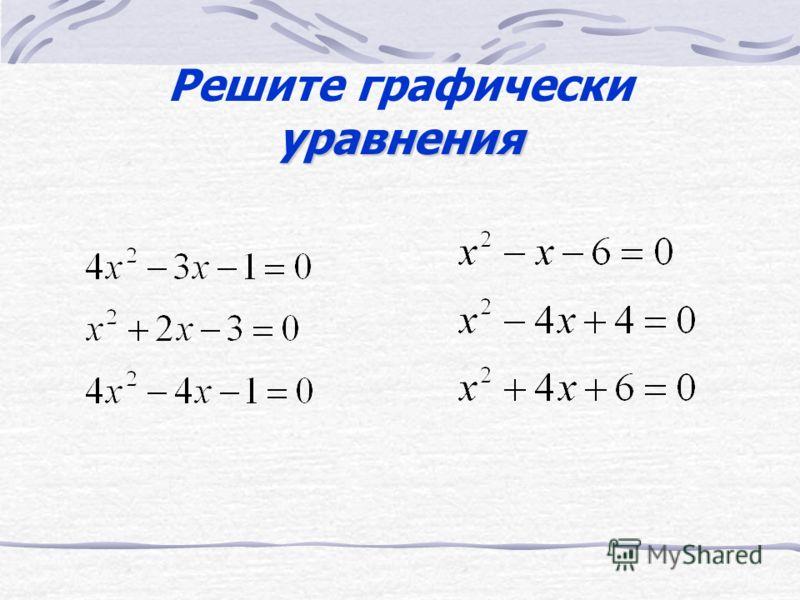 x 2 – 2x – 3 =0 Представим в виде (x –1) 2 =4 Пусть f(x)= (x – 1) 2 и g(x)=4 Построим на одной координатной плоскости графики функций y= (x –1) 2 и y=4 3 Корни уравнения абсциссы точек пересечения параболы с прямой