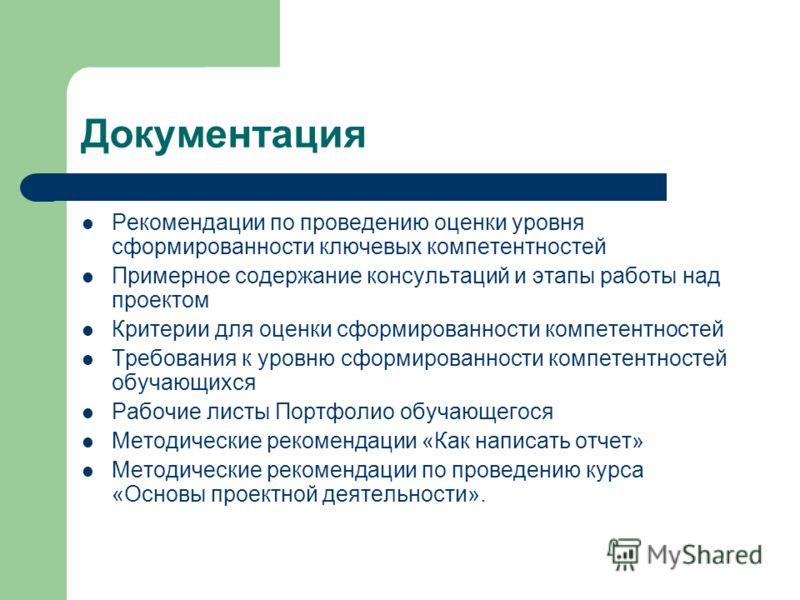 Документация Рекомендации по проведению оценки уровня сформированности ключевых компетентностей Примерное содержание консультаций и этапы работы над проектом Критерии для оценки сформированности компетентностей Требования к уровню сформированности ко