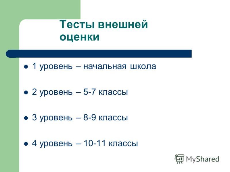 Тесты внешней оценки 1 уровень – начальная школа 2 уровень – 5-7 классы 3 уровень – 8-9 классы 4 уровень – 10-11 классы