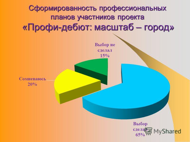 Сформированность профессиональных планов участников проекта «Профи-дебют: масштаб – город»