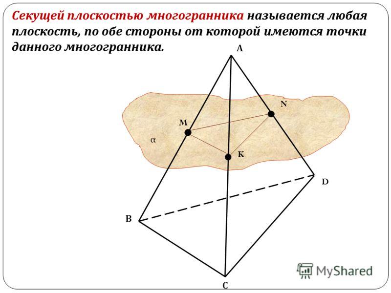 α Секущей плоскостью многогранника называется любая плоскость, по обе стороны от которой имеются точки данного многогранника. А В С D M N K