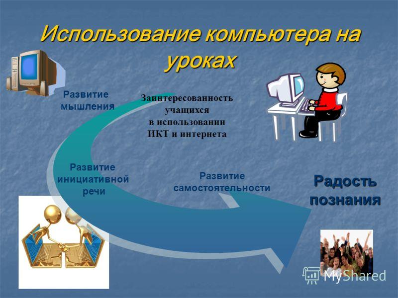 Использование компьютера на уроках Радость познания Развитие мышления Развитие самостоятельности Развитие инициативной речи Заинтересованность учащихся в использовании ИКТ и интернета