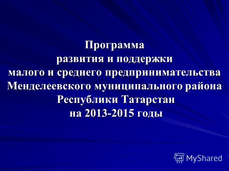 Программа развития и поддержки малого и среднего предпринимательства Менделеевского муниципального района Республики Татарстан на 2013-2015 годы