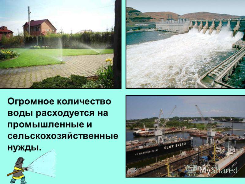 Огромное количество воды расходуется на промышленные и сельскохозяйственные нужды.