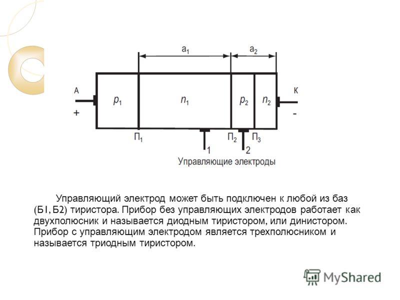 Управляющий электрод может быть подключен к любой из баз ( Б 1, Б 2) тиристора. Прибор без управляющих электродов работает как двухполюсник и называется диодным тиристором, или динистором. Прибор с управляющим электродом является трехполюсником и наз