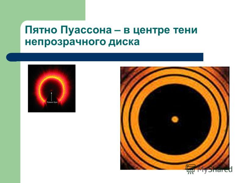 Пятно Пуассона – в центре тени непрозрачного диска