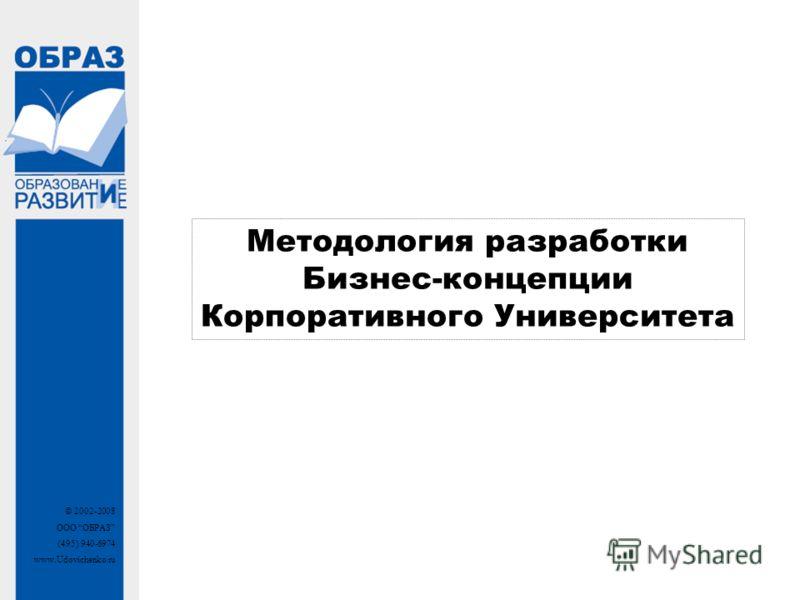 © 2002-2008 ООО ОБРАЗ (495) 940-6974 www.Udovichenko.ru Методология разработки Бизнес-концепции Корпоративного Университета