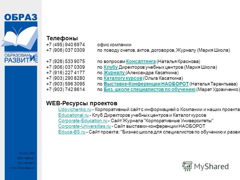 © 2002-2008 ООО ОБРАЗ (495) 940-6974 www.Udovichenko.ru Телефоны +7 (495) 940 6974 офис компании +7 (906) 037 0309 по поводу счетов, актов, договоров, Журналу (Мария Школа) +7 (926) 533 9075 по вопросам Консалтинга (Наталья Краснова) +7 (906) 037 030