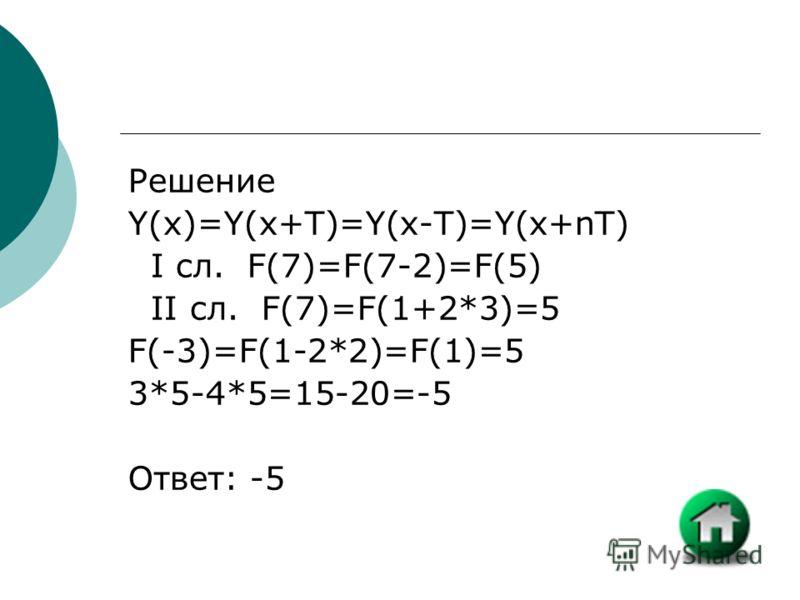 Решение Y(x)=Y(x+T)=Y(x-T)=Y(x+nT) I сл. F(7)=F(7-2)=F(5) II сл. F(7)=F(1+2*3)=5 F(-3)=F(1-2*2)=F(1)=5 3*5-4*5=15-20=-5 Ответ: -5