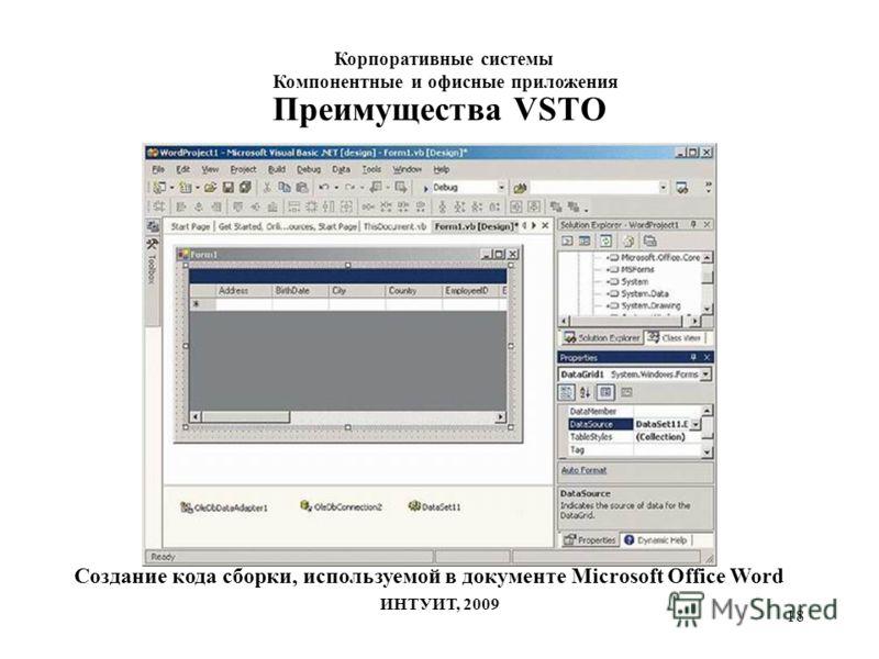 18 Преимущества VSTO Создание кода сборки, используемой в документе Microsoft Office Word Корпоративные системы Компонентные и офисные приложения ИНТУИТ, 2009