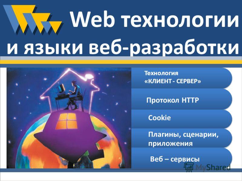Web технологии и языки веб-разработки Технология «КЛИЕНТ - СЕРВЕР» Протокол HTTP Cookie Плагины, сценарии, приложения Веб – сервисы