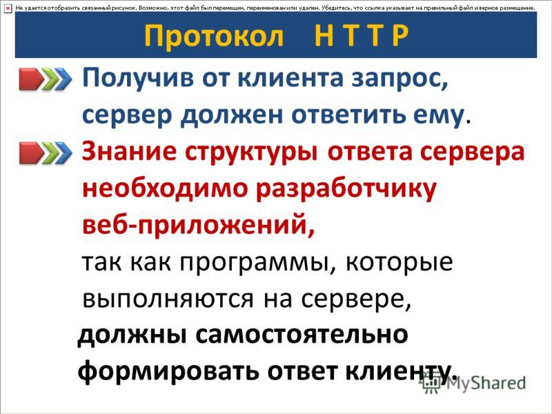 Протокол H T T P Получив от клиента запрос, сервер должен ответить ему. Знание структуры ответа сервера необходимо разработчику веб-приложений, так как программы, которые выполняются на сервере, должны самостоятельно формировать ответ клиенту.