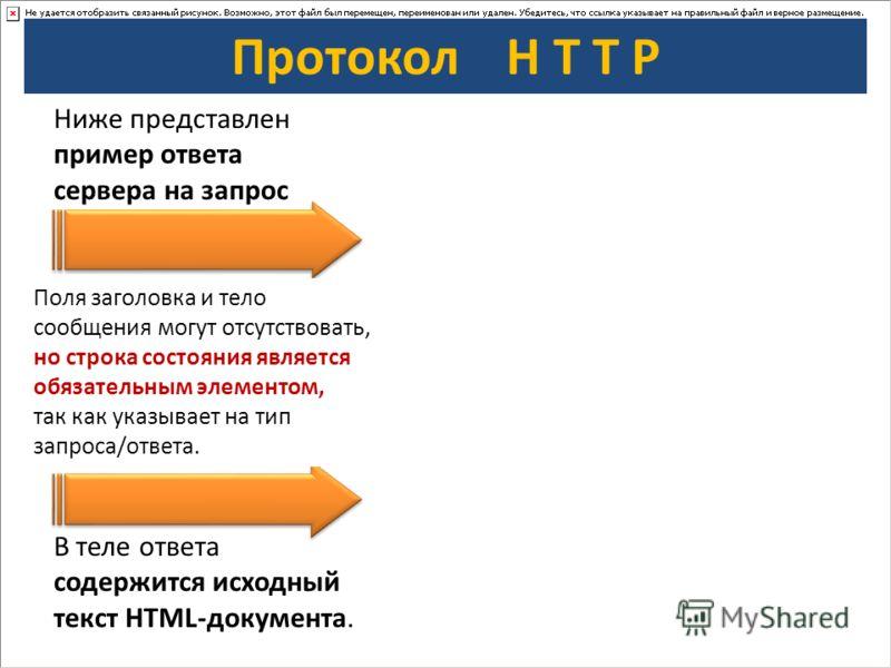 Протокол H T T P Ниже представлен пример ответа сервера на запрос В теле ответа содержится исходный текст HTML-документа. Поля заголовка и тело сообщения могут отсутствовать, но строка состояния является обязательным элементом, так как указывает на т