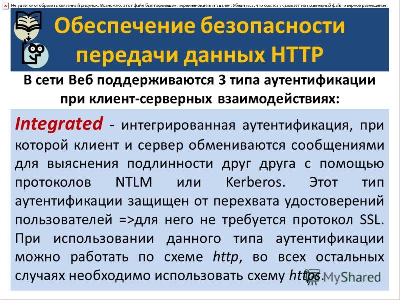 Обеспечение безопасности передачи данных HTTP В сети Веб поддерживаются 3 типа аутентификации при клиент-серверных взаимодействиях: Basic - базовая аутентификация, при которой имя пользователя и пароль передаются в заголовках http-пакетов. Пароль при