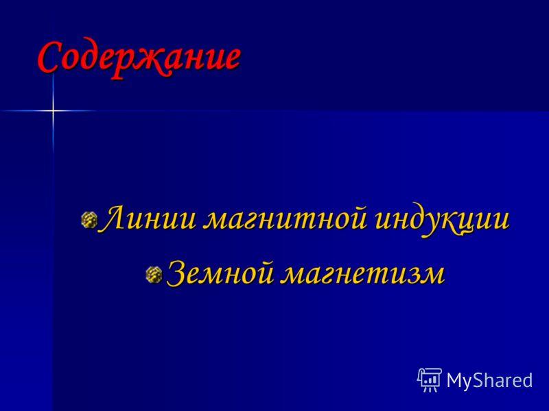 Содержание Линии магнитной индукции Земной магнетизм