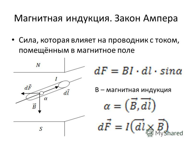Магнитная индукция. Закон Ампера Сила, которая влияет на проводник с током, помещённым в магнитное поле В – магнитная индукция