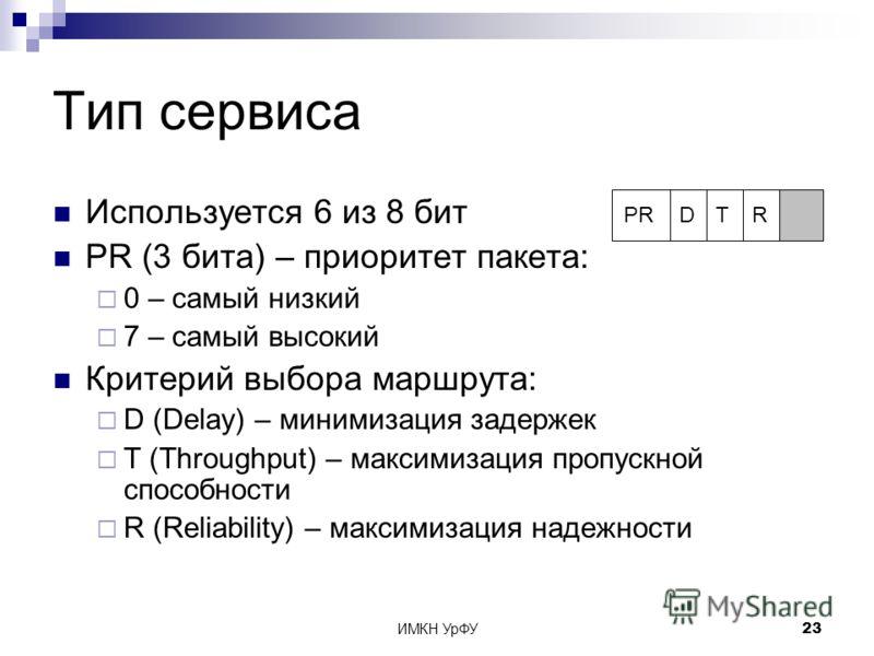 ИМКН УрФУ23 Тип сервиса Используется 6 из 8 бит PR (3 бита) – приоритет пакета: 0 – самый низкий 7 – самый высокий Критерий выбора маршрута: D (Delay) – минимизация задержек T (Throughput) – максимизация пропускной способности R (Reliability) – макси