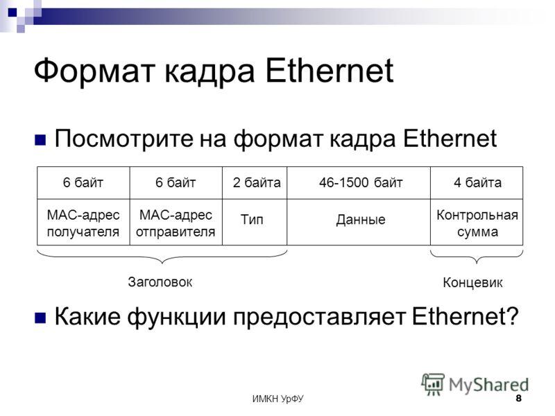 ИМКН УрФУ8 Формат кадра Ethernet Посмотрите на формат кадра Ethernet Какие функции предоставляет Ethernet? MAC-адрес отправителя 6 байт MAC-адрес получателя 6 байт Тип 2 байта4 байта Контрольная сумма 46-1500 байт Данные Заголовок Концевик