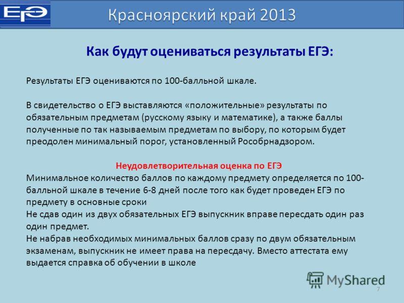 Как будут оцениваться результаты ЕГЭ: Результаты ЕГЭ оцениваются по 100-балльной шкале. В свидетельство о ЕГЭ выставляются «положительные» результаты по обязательным предметам (русскому языку и математике), а также баллы полученные по так называемым