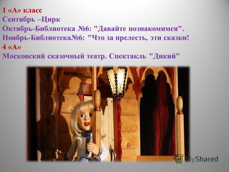 1 «А» класс Сентябрь –Цирк Октябрь-Библиотека 6: Давайте познакомимся. Ноябрь-Библиотека6: Что за прелесть, эти сказки! 4 «А» Московский сказочный театр. Спектакль Дикий