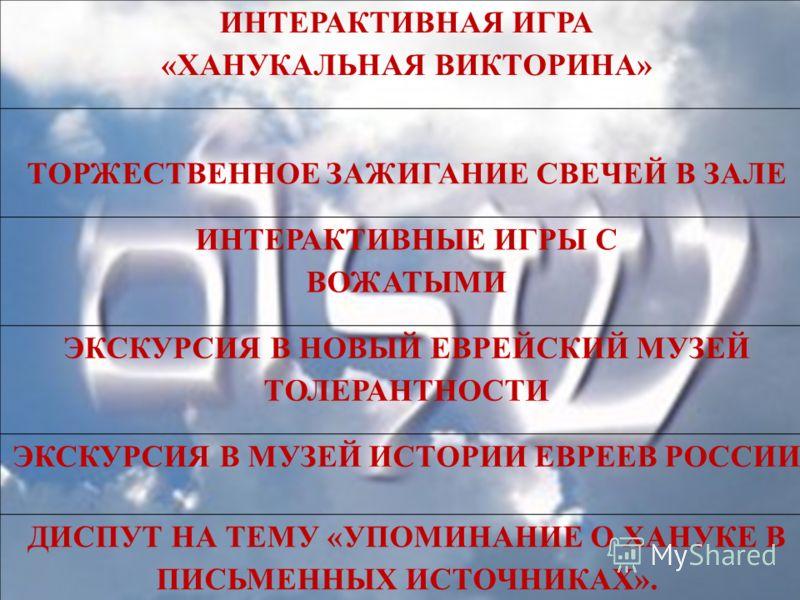 ИНТЕРАКТИВНАЯ ИГРА «ХАНУКАЛЬНАЯ ВИКТОРИНА» ТОРЖЕСТВЕННОЕ ЗАЖИГАНИЕ СВЕЧЕЙ В ЗАЛЕ ИНТЕРАКТИВНЫЕ ИГРЫ С ВОЖАТЫМИ ЭКСКУРСИЯ В НОВЫЙ ЕВРЕЙСКИЙ МУЗЕЙ ТОЛЕРАНТНОСТИ ЭКСКУРСИЯ В МУЗЕЙ ИСТОРИИ ЕВРЕЕВ РОССИИ ДИСПУТ НА ТЕМУ «УПОМИНАНИЕ О ХАНУКЕ В ПИСЬМЕННЫХ ИС