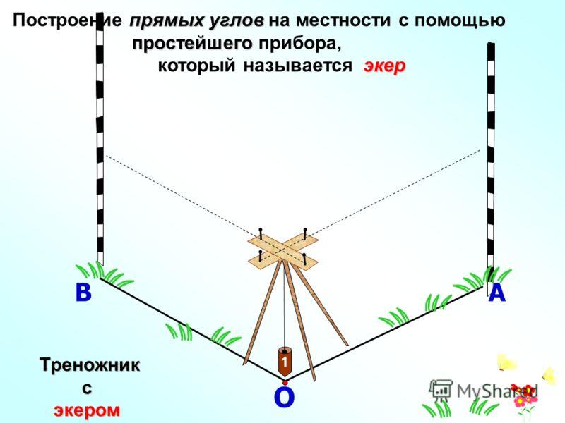 О 1 АВ прямых углов Построение прямых углов на местности с помощью простейшего простейшего прибора, экер который называется экер Треножник Треножниксэкером