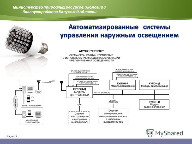 Page 5 Министерство природных ресурсов, экологии и благоустройства Калужской области Автоматизированные системы управления наружным освещением