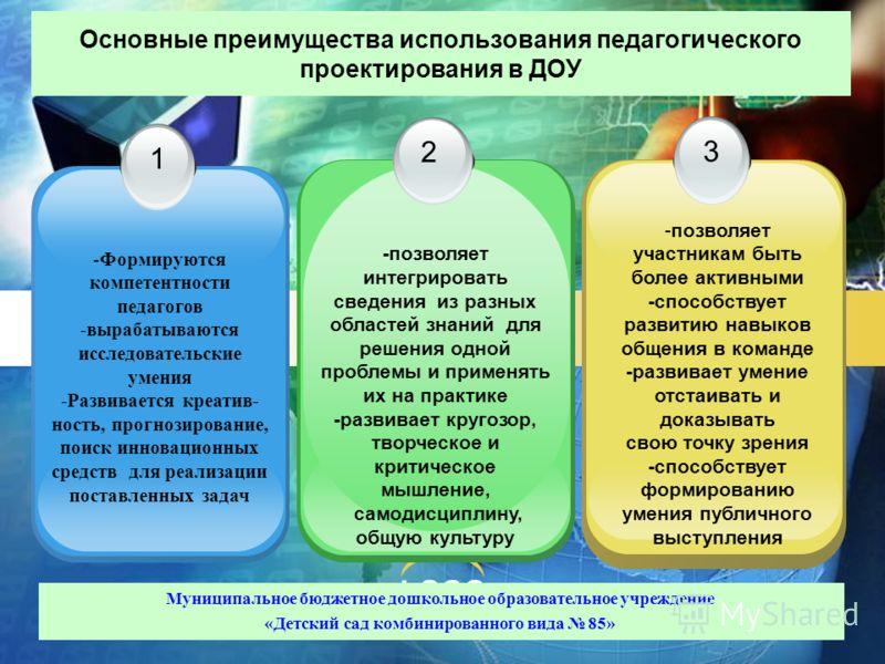 LOGO Основные преимущества использования педагогического проектирования в ДОУ 1 2 3 -Формируются компетентности педагогов -вырабатываются исследовательские умения -Развивается креатив- ность, прогнозирование, поиск инновационных средств для реализаци