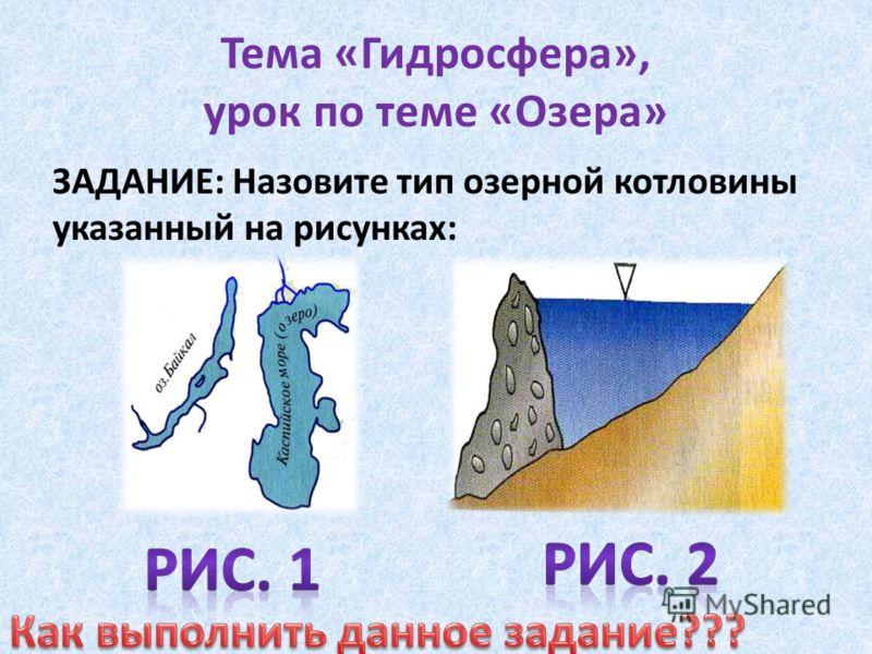 Тема «Гидросфера», урок по теме «Озера» ЗАДАНИЕ: Назовите тип озерной котловины указанный на рисунках: