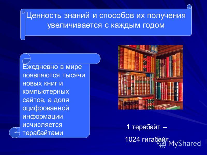 Ценность знаний и способов их получения увеличивается с каждым годом Ежедневно в мире появляются тысячи новых книг и компьютерных сайтов, а доля оцифрованной информации исчисляется терабайтами 1 терабайт – 1024 гигабайт
