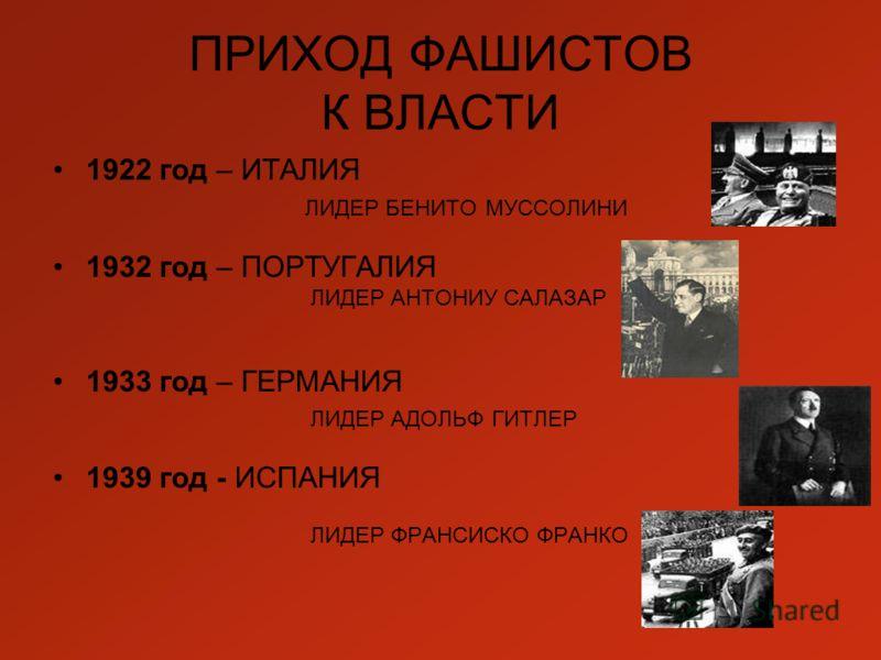 ПРИХОД ФАШИСТОВ К ВЛАСТИ 1922 год – ИТАЛИЯ ЛИДЕР БЕНИТО МУССОЛИНИ 1932 год – ПОРТУГАЛИЯ ЛИДЕР АНТОНИУ САЛАЗАР 1933 год – ГЕРМАНИЯ ЛИДЕР АДОЛЬФ ГИТЛЕР 1939 год - ИСПАНИЯ ЛИДЕР ФРАНСИСКО ФРАНКО