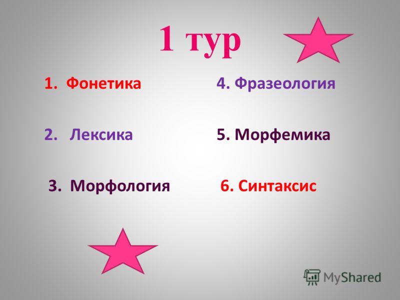 1 тур 1. Фонетика 4. Фразеология 2. Лексика 5. Морфемика 3. Морфология 6. Синтаксис
