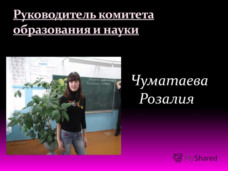 Руководитель комитета образования и науки Чуматаева Розалия