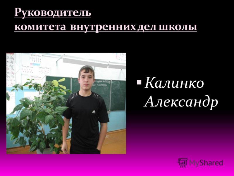 Руководитель комитета внутренних дел школы Калинко Александр