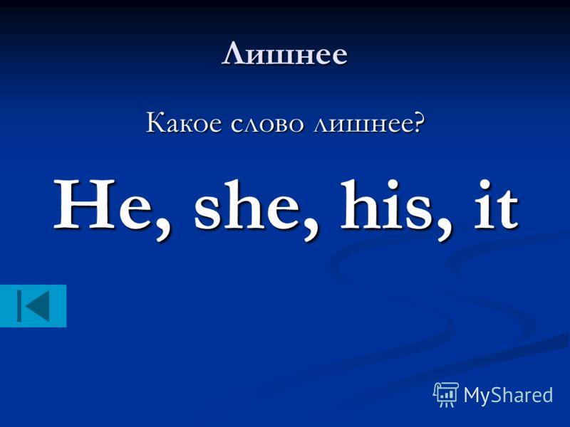 Лишнее Какое слово лишнее? He, she, his, it