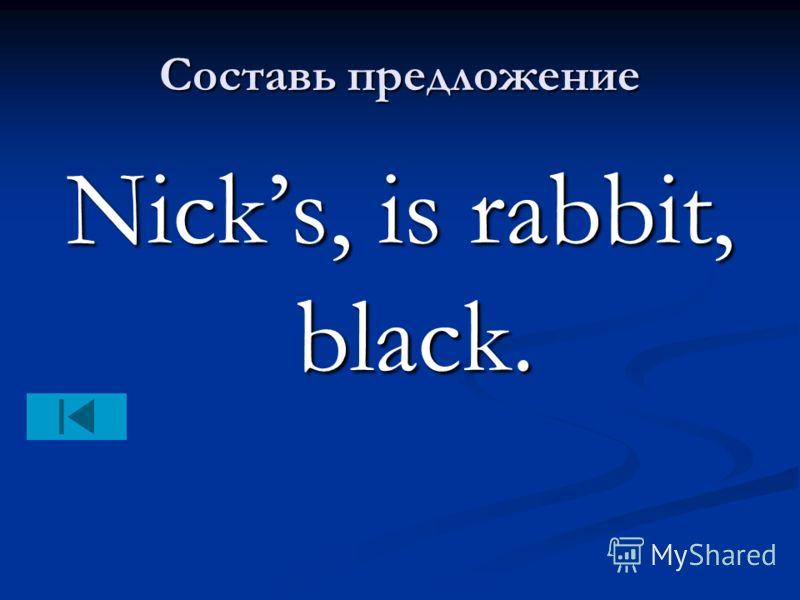 Составь предложение Nicks, is rabbit, black.