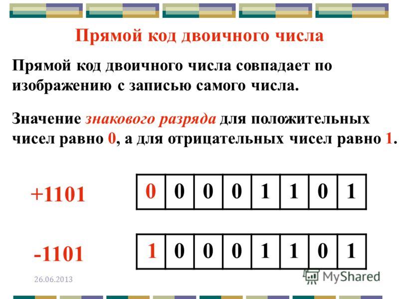 Прямой код двоичного числа совпадает по изображению с записью самого числа. Значение знакового разряда для положительных чисел равно 0, а для отрицательных чисел равно 1. Прямой код двоичного числа +1101 -1101 00001101 00011011 26.06.2013